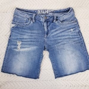 Bullhead Distress Jean Shorts Striped Pockets